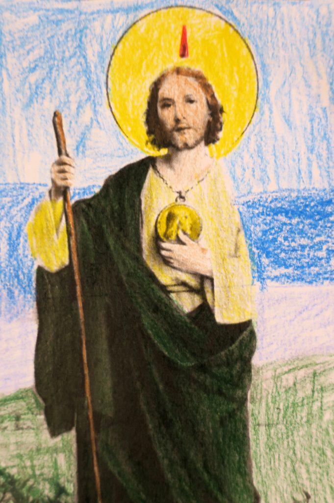Saint Jude prayer card child's pencil coloring