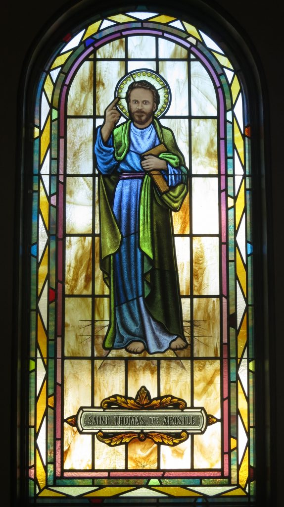 Saint Paul the Apostle Church Westerville Ohio stained glass arcade Saint Thomas the Apostle