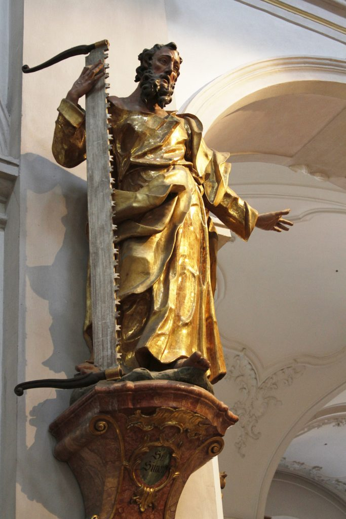 Statue of St. Simon the Zealot Peterskirche Munich Germany