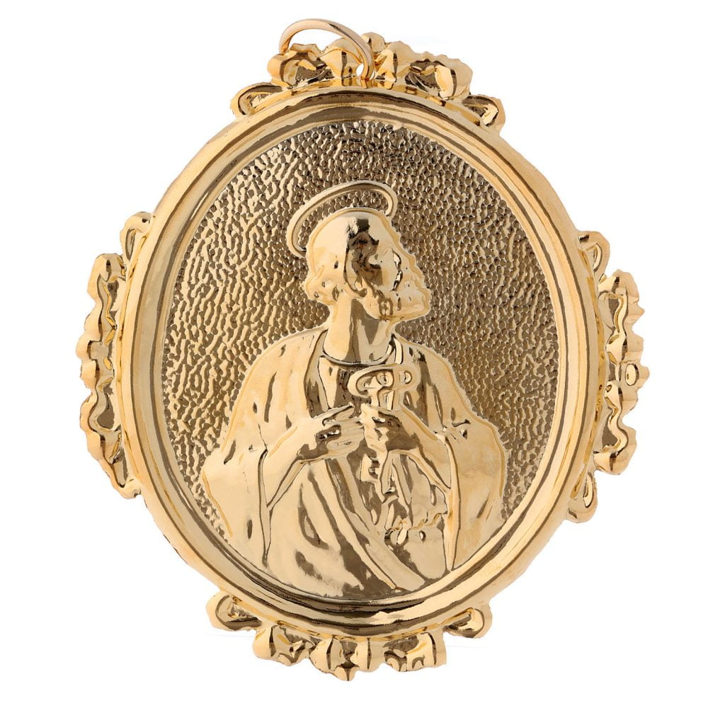 confraternity medal saint peter in brass