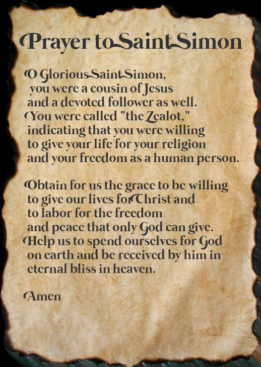 Saint Simon the Zealot Prayer